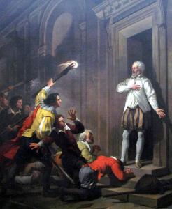 Admiral de Coligny impressing his murderers, by Joseph-Benoît Suvée
